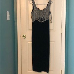 Long Black and Sequined Prom Dress